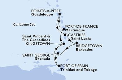 offerta MSC SEAVIEW dal 15/01/2022 al 22/01/2022 da Fort De France,  Martinique | fersinaviaggi.it
